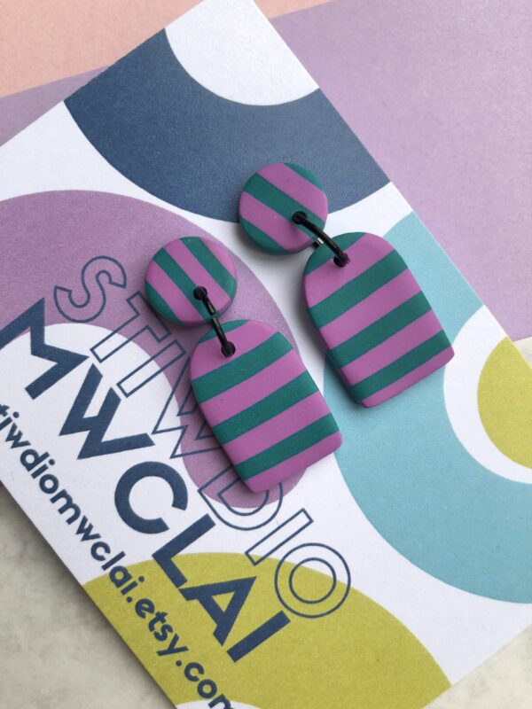 Green and violet stripe earrings